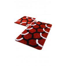 Коврик для ванной DO&CO (60Х100 см/50x60 см) ELEGANT - красный