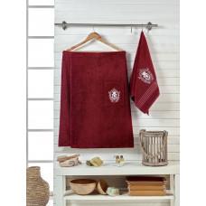 Сауна махра с вышивкой   мужская JUANNA 2 предмета BRODE - бордовый