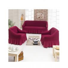 Чехол д/мягкой мебели 3-х пр.(3+1+1) JUANNA - бордовый