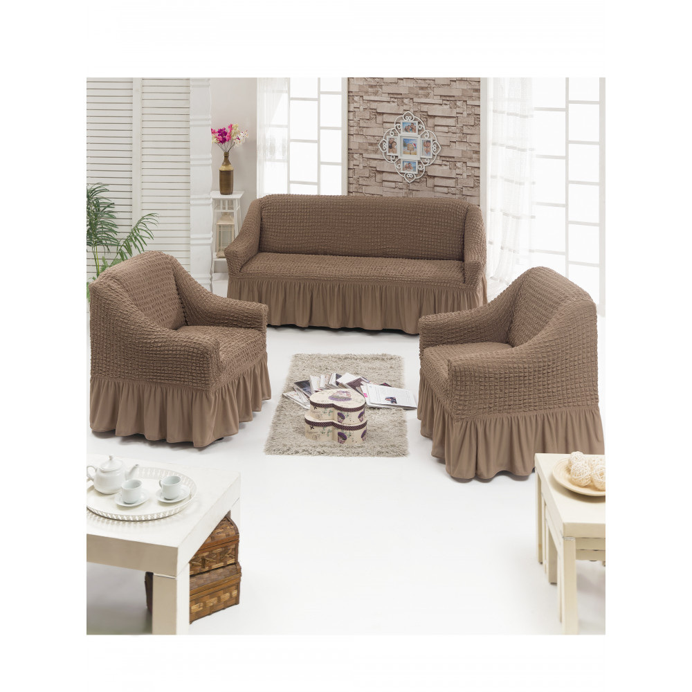 Чехол д/мягкой мебели 3-х пр.(3+1+1) JUANNA - серо-коричневый