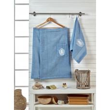 Сауна махра с вышивкой   мужская JUANNA 2 предмета BRODE - голубой
